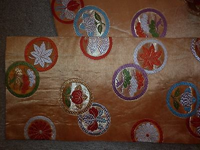 Vintage Japanese Gold And Apricot  Silk Brocade Obi Sash Excellent  Condition