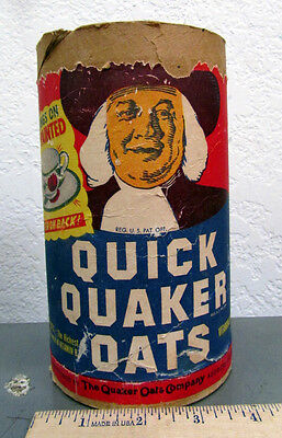Vintage QUAKER OATS Round Cardboard Container, great graphics, china ware ad