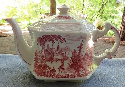 Royal Crownford Staffordshire Pink Transferware Safe Harbour Teapot England