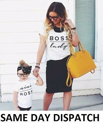 BOSS LADY & MINI BOSS Matching T shirt Daughter Mothers Day Son Parent Gift NEW
