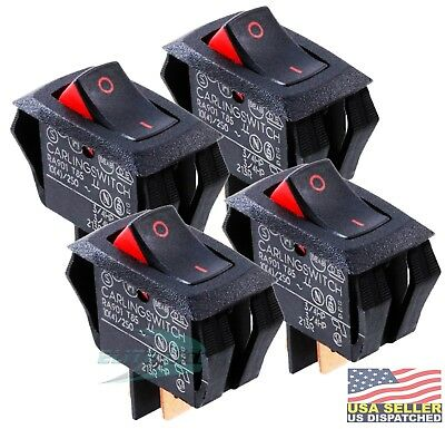 4x Carling Technologies RA901-VB-B-9-V Switch Rocker SPST 16A 250V Black
