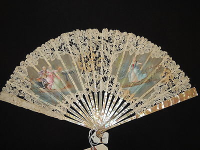 Victorian Signed Brussels Lace Hand Painted Mother of Pearl Hand Fan Ca 1880's
