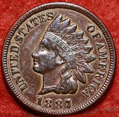 1887 Philadelphia Mint Copper Indian Head Cent Free Shipping