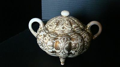 Antique Pre-1921 Nippon Hand Painted Gold Moriage Sugar Bowl
