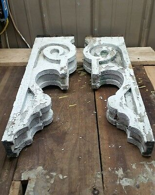1890's Antique Pair(2) Wood Corbels Brackets Victorian Gingerbread Chic White G1