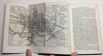1762 City Oxford Plan University College Map Oxfordshire OXON Engraving Etching