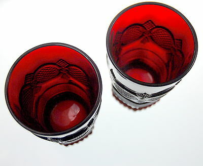 Vintage Avon Ruby Red Glass Cape Cod 1876  Design Tumblers