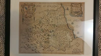 Original Old Antique 1673 Richard Blome England County Map of Durham Yorkshire