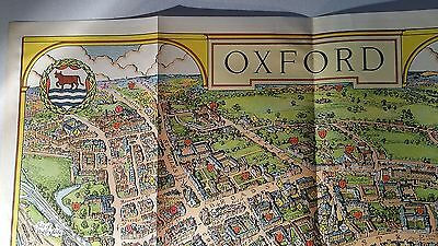 Oxford University College City Map Pictorial Plan Print Lithograph Oxfordshire
