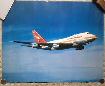 QANTAS 747SP Poster Vintage Collectable