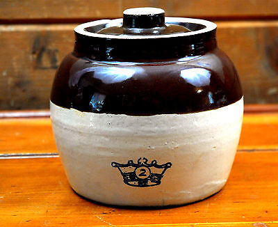 Robinson Ransbottom Bean Pot Blue Crown  #2 with Lid