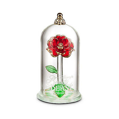 Disney Beauty and the Beast Enchanted Rose Glass Sculpture by Arribas
