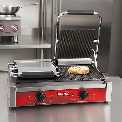 Avantco P84 Commercial Double Grooved Panini Sandwich Press Grill
