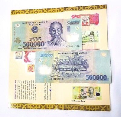 1 Million VND Bank Notes Vietnam 500,000 X 2 Notes Dinar Trade DeLaRue Verified