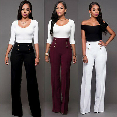 Women Casual Summer Palazzo High Waist Career Wide Leg Trousers Loose Pants New
