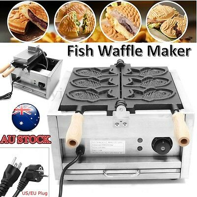 AU Pro 220V Fish Waffle Maker Stainless Non-stick Plate Temperature Controller