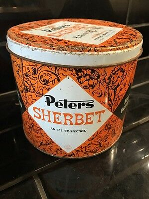 Peters Sherbet Ice Cream Half Gallon Vintage Tin Kitchenalia