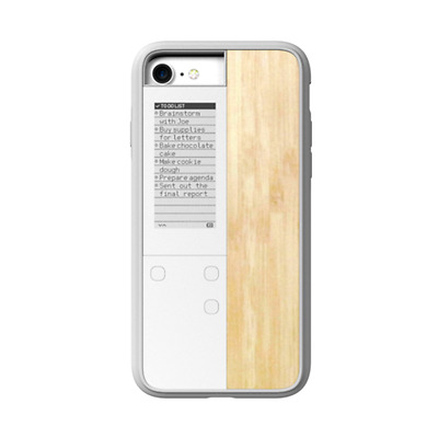 Oaxis InkCase i7 IVY - for iPhone 7 digital smart case White/Wood Maplewood Text