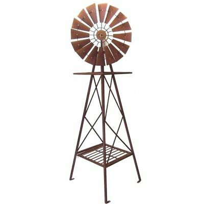 Windmill Garden Sculpture Metal Iron Ornament Rustic Brown BIG XL 161cm