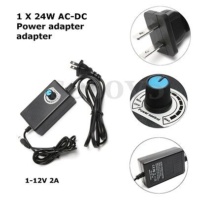 Universal AC/DC Power Adapter 1-12V 2A Supply Motor Speed Controller LED Dimmer
