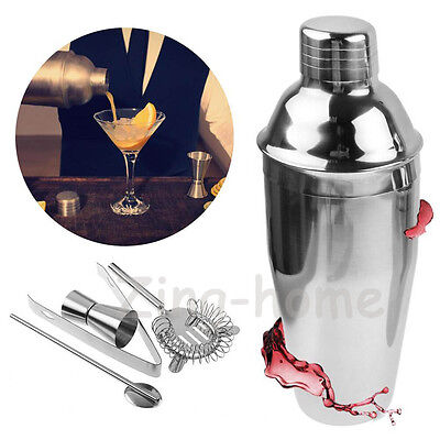 Cocktail Shaker Mixer Drink Jigger Bartender Pub Alcohol Party Martini 750ML 5PC