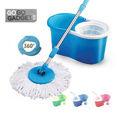 360° Magic Rotating Spinning Spin Mop Bucket Set With 2 Microfibre Cleaning Head