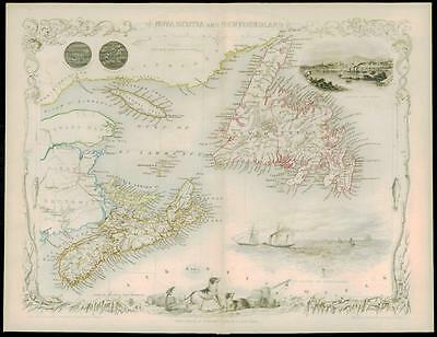 "c1850 ""NOVA SCOTIA & NEWFOUNDLAND"" Antique Map by Tallis Canada"