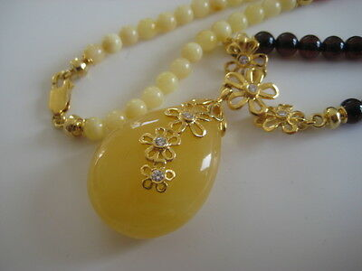 Bernsteinkette Collier Anhänger Baltic Amber Necklace Pendant Multicolor