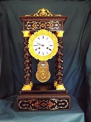 Fabulous 19c Inlaid French Portico Clock C1880.