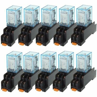 10x DC 12V Coil Power Relay LY2NJ DPDT 8 Pin HH62P JQX-13F With Socket Base US