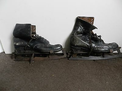 Pair Of Antique Ice Skates With Ladies Leather Boots
