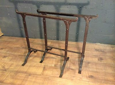 pair of vintage cast and wrought iron trestles