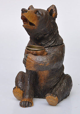 Large Quality Black Forest Sitting Tobacco Jar Bear Swiss Wooden Carved 11 1/2""