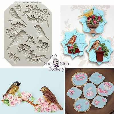 Katy Sue BLOSSOMS & BIRDS Silicone Sugarcraft Cake Decorating Mould Art & Craft