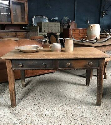 Lovely Victorian Antique Rustic French Country Farmhouse Kitchen Dining Table