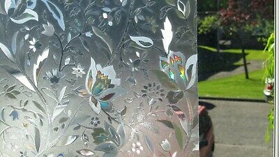 SALE 1m/2m/3m Floral Static Decorative Frosted  Etched Glass Effect Window Film