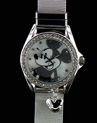 Disney Mickey Mouse Stainless Mesh Strap Watch with Diamante Face Surround.