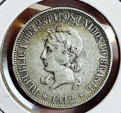 1912 Brazil Silver 1000 Reis. Nice Collector Coin For Your Collection Or Set