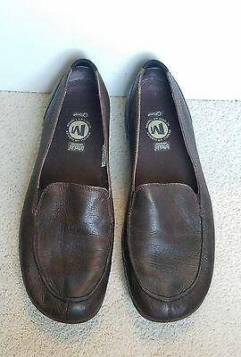 Merrell Ortholite Qform brown leather flats slip on shoes loafers womens 10.5