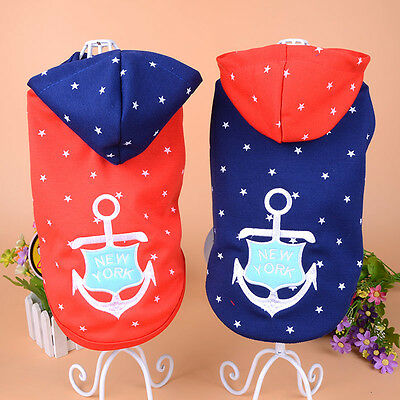 Cotton Small Pet Dog Hoodie Clothes Embroidered Anchor Puppy Shirt Summer Cute