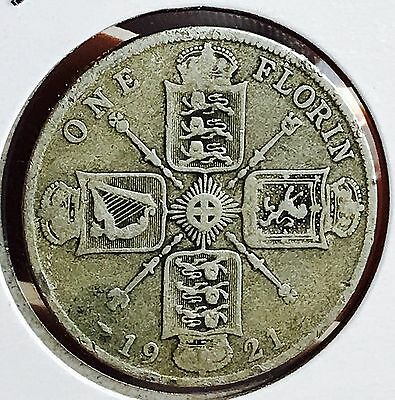 1921 Great Britain Silver One Florin. Nice Collector Coin For Your Collection