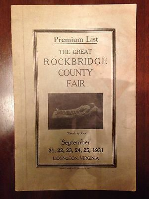 Rockbridge County, Virginia Fair Booklet 1931 Lexington, Virginia