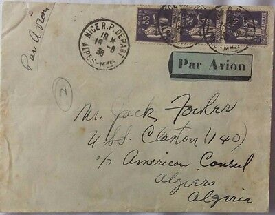 France 1938 Cover To United States Navy Ship Claxton On Patrol Spain Civil War