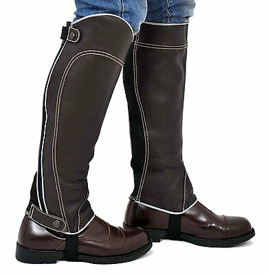 "Leather Equestrian Horse riding Gaiters Half Chaps Stretch XL Brown 16 17"" Calf"