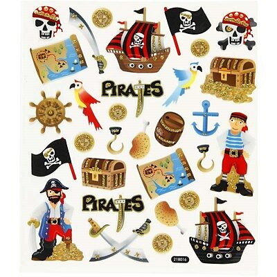 Pirate Stickers Large Sheet Boys Party Bag Filler Kids Craft Glitter Finish