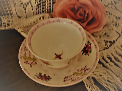 Antique 18th Century Porcelain Teabowl and Saucer Pink Luster Hand Painted