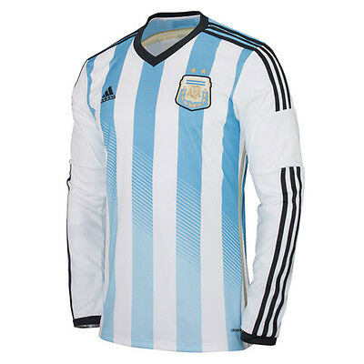 Adidas Argentina Home Replica Football Long Sleeve Mens Jersey 2014 M60406 EE6