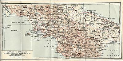 Carta geografica antica CAMPANIA BASILICATA TCI 1928 Old antique map