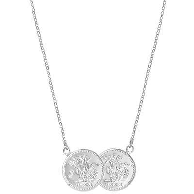 "Sterling Silver Double Half Sovereign St George Coin 17"" Necklace"