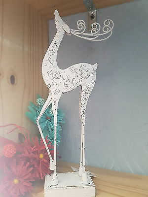 New Lovely White Etched Reindeer Christmas Tree Decoration Shabby Chic